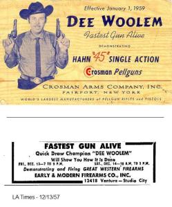 Dee Woolem, endorsing the Hahn BB single action for Crosman.